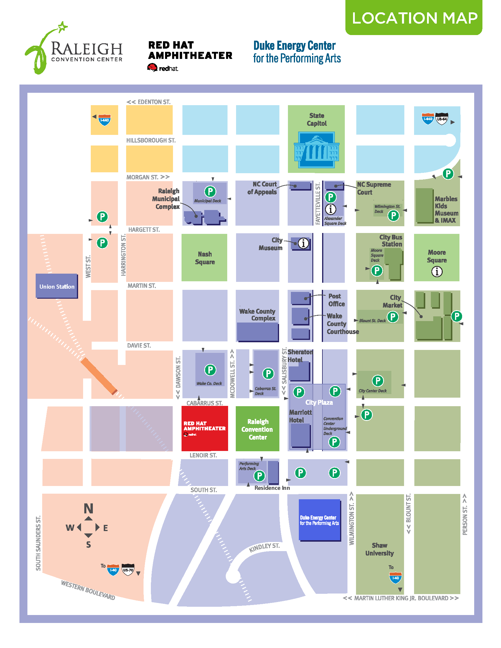 Map of Downtown Raleigh