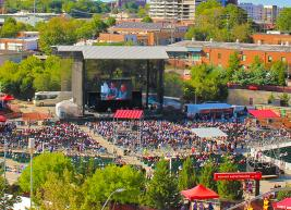The view overlooking Red Hat Amphitheater during the day