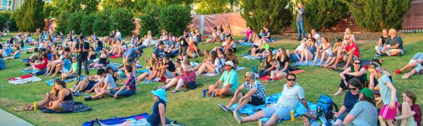 Music lovers enjoy a daytime show at Red Hat Amphitheater from the lawn seats